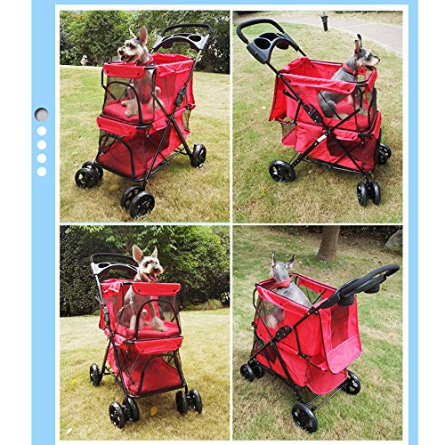 LOVEPET Lightweight Folding Double Pet Stroller Dog Large Space Cart Cage Four Wheel Outdoor Travel Supplies,Red