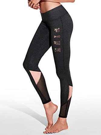 0a7b7616983aa Victoria Secret Pink Flat Legging Mesh, Black/Light Pink Bling ...