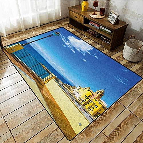 - Rectangular Rug,Italian,Camogli Building Sea Lamp and Balcony Tourist Spot in Ligury Italy Print,Anti-Slip Doormat Footpad Machine Washable Blue White and Yellow