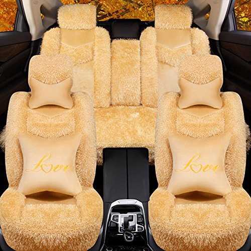 5 Pcs Universal Car Seat Cover Set Cushions Front Rear Coral Fleece Soft And Warm For Winter Driving (L, Beige) by AUTOPDR (Image #2)