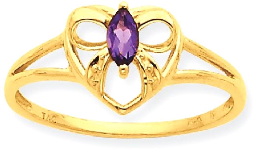 ICE CARATS 10k Yellow Gold Purple Amethyst Birthstone Band Ring Size 7.00 Stone February Style Fine Jewelry Gift Set For Women Heart by ICE CARATS