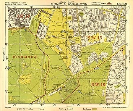 Richmond London Map.Sw London Putney Roehampton Richmond Park Wimbledon Common Bacon