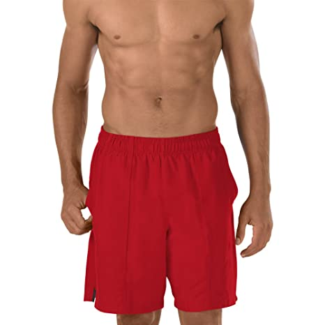 b164d7140b Buy Speedo Men's Solid Rally Volley 19 Inch Workout & Swim Trunks, Large,  Red Bluff Online at Low Prices in India - Amazon.in
