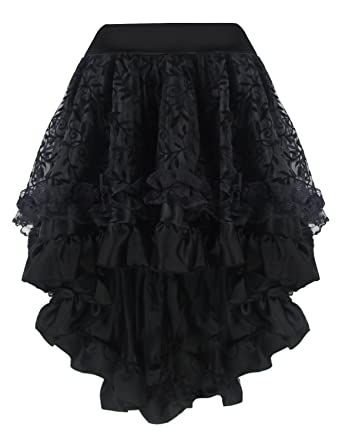 2613cf44c2 Burvogue Steampunk Skirt, Women Multi Layered High Low Outfits at Amazon  Women's Clothing store: