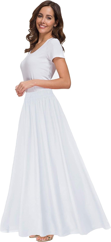 Sinono Womens Chiffon Retro Maxi Skirt Vintage Ankle-Length Skirts