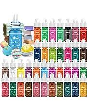 Bath Bomb Soap Dye - 36 Color Concentrated Food Grade Skin Safe Liquid Based Bath Bomb Colorant - Vibrant Rainbow Soap Coloring for Soap Making DIY, Bath Bomb Supplies Kit, Bath Salt Crafting