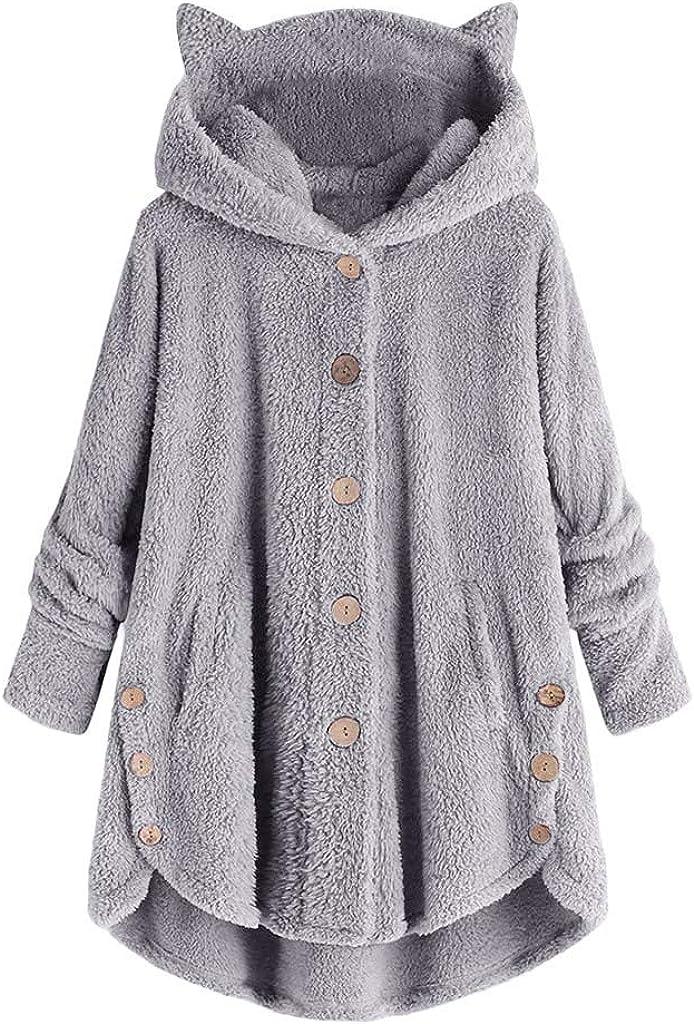 Bottoming Fluffy Tail Tops,2020 Fashion Button Coat for Women Christmas Sweatshirt Hoodies Pullover Plus Size Chaofanjiancai