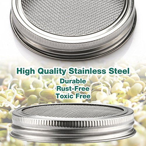6 Pack Sprouting Lids for Wide Mouth Mason Jars Canning Jars,304 Stainless Steel Sprouting Jar Lid Kit Sprout Generator Set to Grow Your Own Organic Sprouts, 2.45Dollar/PCS (Jar not Included) by JamBer (Image #2)