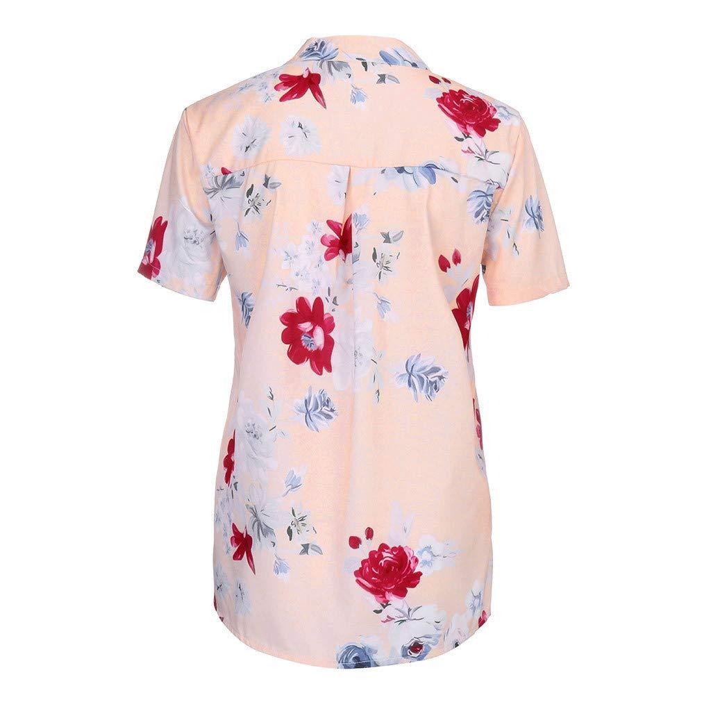 XuxMim Damen Bluse Chiffon Elegant V-Ausschnitt Tasche drucken Kurzarm Casual Oberteile Hemd Lose Plus Gr/ö/ße Bodies Shirt Tops