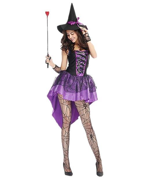 Disfraz de Bruja Para Mujer Cosplay Vestido de Witch Traje Medieval Halloween  Carnaval  Amazon.es  Ropa y accesorios 5fe7700684a