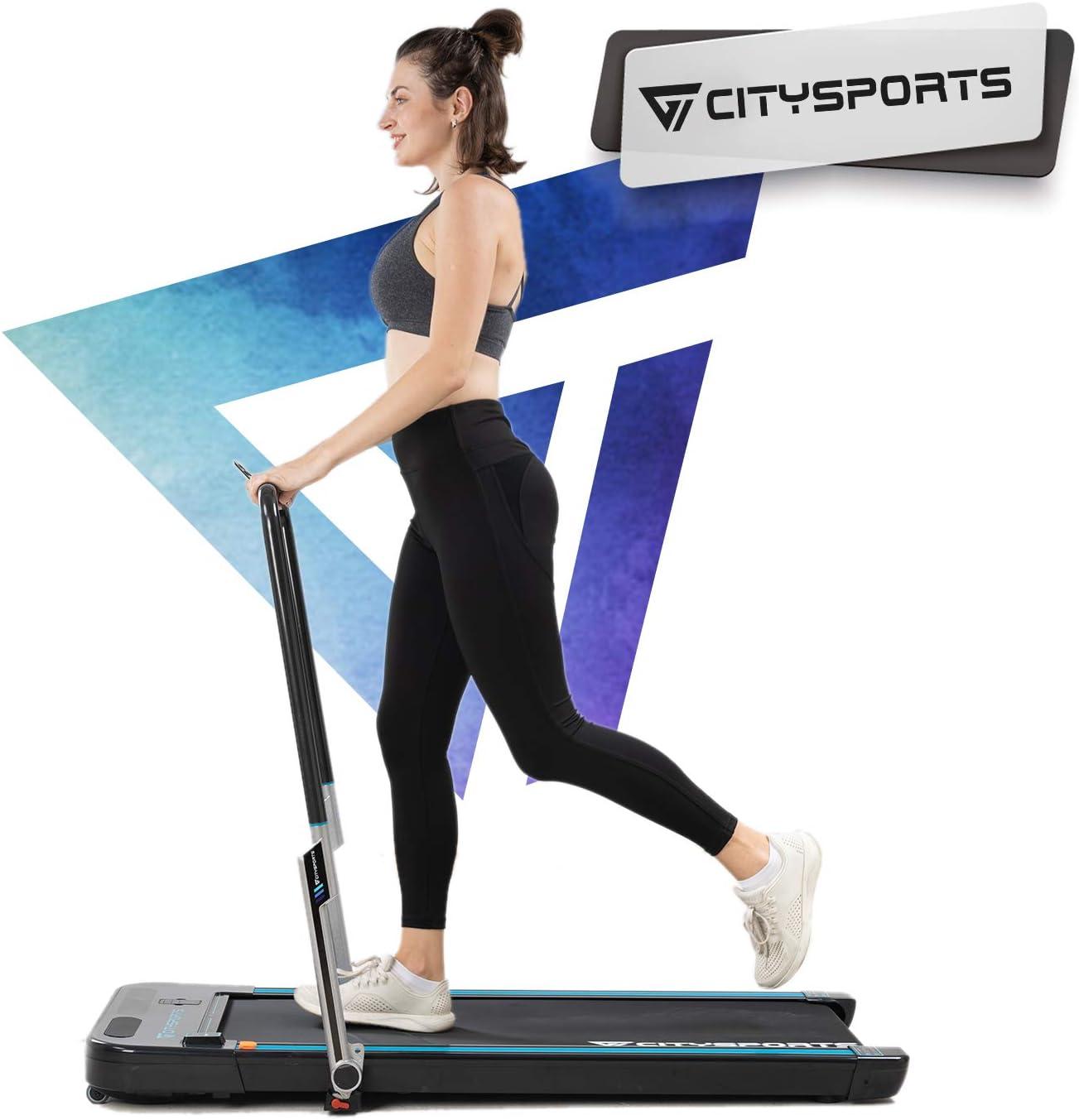 Cinta de Correr Caminar Plegable 440W, Apoyabrazos y Control Remoto Controlables, Altavoz Bluetooth Incorporado, Velocidad 1-8km / h Ajustable, Cinta de Correr Caminar Profesional para el Hogar