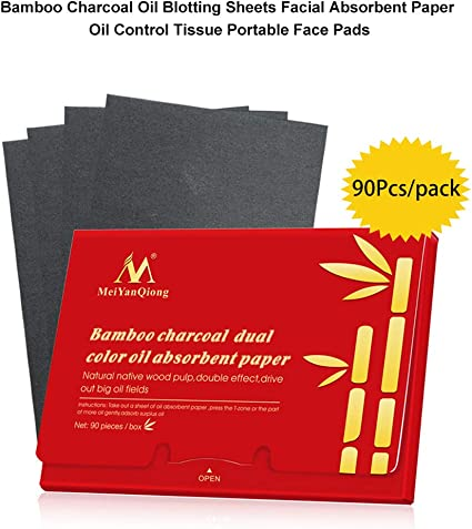 90 Unids/pack Hojas de Secado de Aceite de Carbón de Bambú Papel Absorbente Facial Control de Aceite Tejido Almohadillas Faciales Portátiles parches: Amazon.es: Belleza
