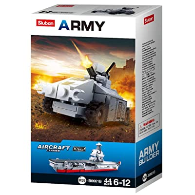 SlubanKids Creative Building Blocks Set | Imaginative Indoor Games Toys for Kids | Mega Army Aircraft Carrier, Mega Fighter Set and More (Tank 2): Toys & Games