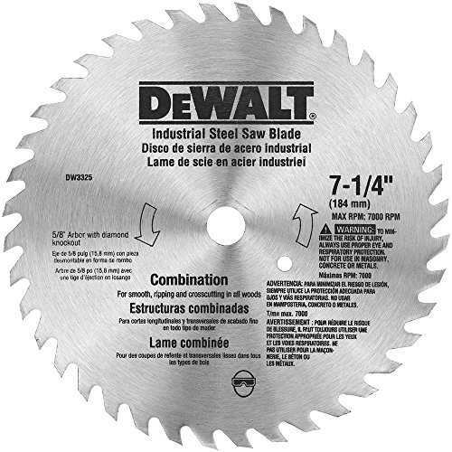 DEWALT DW3325 7-1/4-Inch 40 Tooth ATB Combination Saw Blade with 5/8-Inch and Diamond Knockout Arbor - Construction Blade