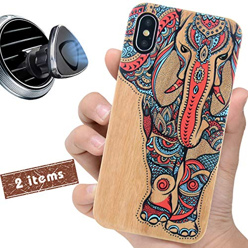 (iProductsUS Wood Phone Case Compatible with iPhone XR,Magnetic Mount and Screen Protector-3D UV Print Color Elephant Cases,Compatible Wireless Charger,Built-in Metal Plate,TPU Protective Cover (6.1