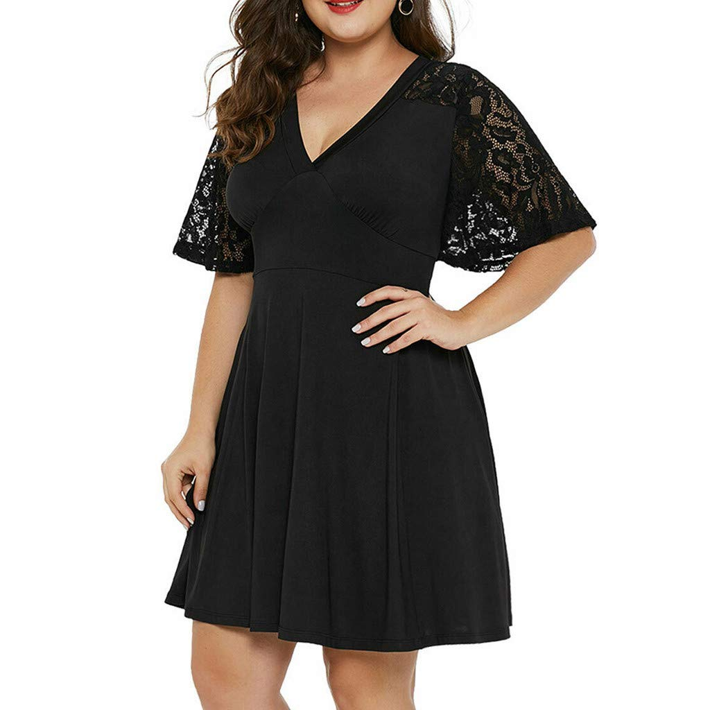 HULKY Women Floral Lace Bridesmaid Party Dress Short Prom Dress Plus Size Casual Solid V Neck Short Sleeve A-Line Dress