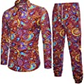 GREFER Clearance Sale Men's Spring Long Sleeve Shirt Business T- Shirt Print Blouse Top+Pants