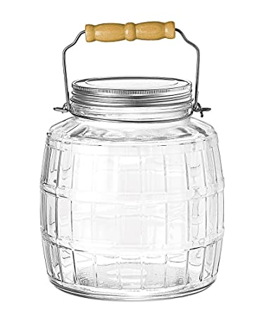 Amazon Com Anchor Hocking 1 Gallon Glass Barrel Jar With Brushed