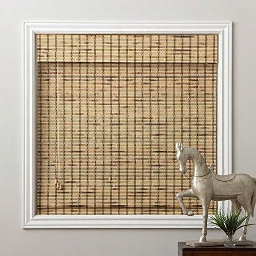 1 Piece 73''Wx74''L Multi Grain Brown Ochre Tan Natural Wood Pull Up Bamboo Blind. Eco Friendly Rustic Roman Country Horizontal Slat With Built In Valance Nature Window Treatment Allows Gentle Sunlight
