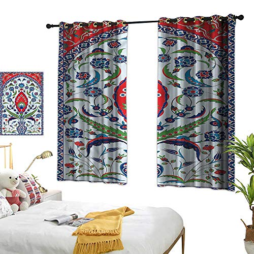 - Unpremoon Turkish Pattern Drapes for Dining Room Plant in a Vase W63 x L45