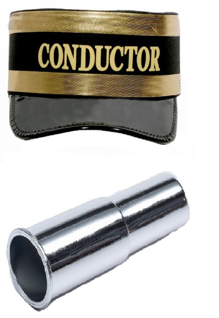 Black Train Conductor Hat Metal Siren Whistle Gendarme Costume Cap Accessory Kit