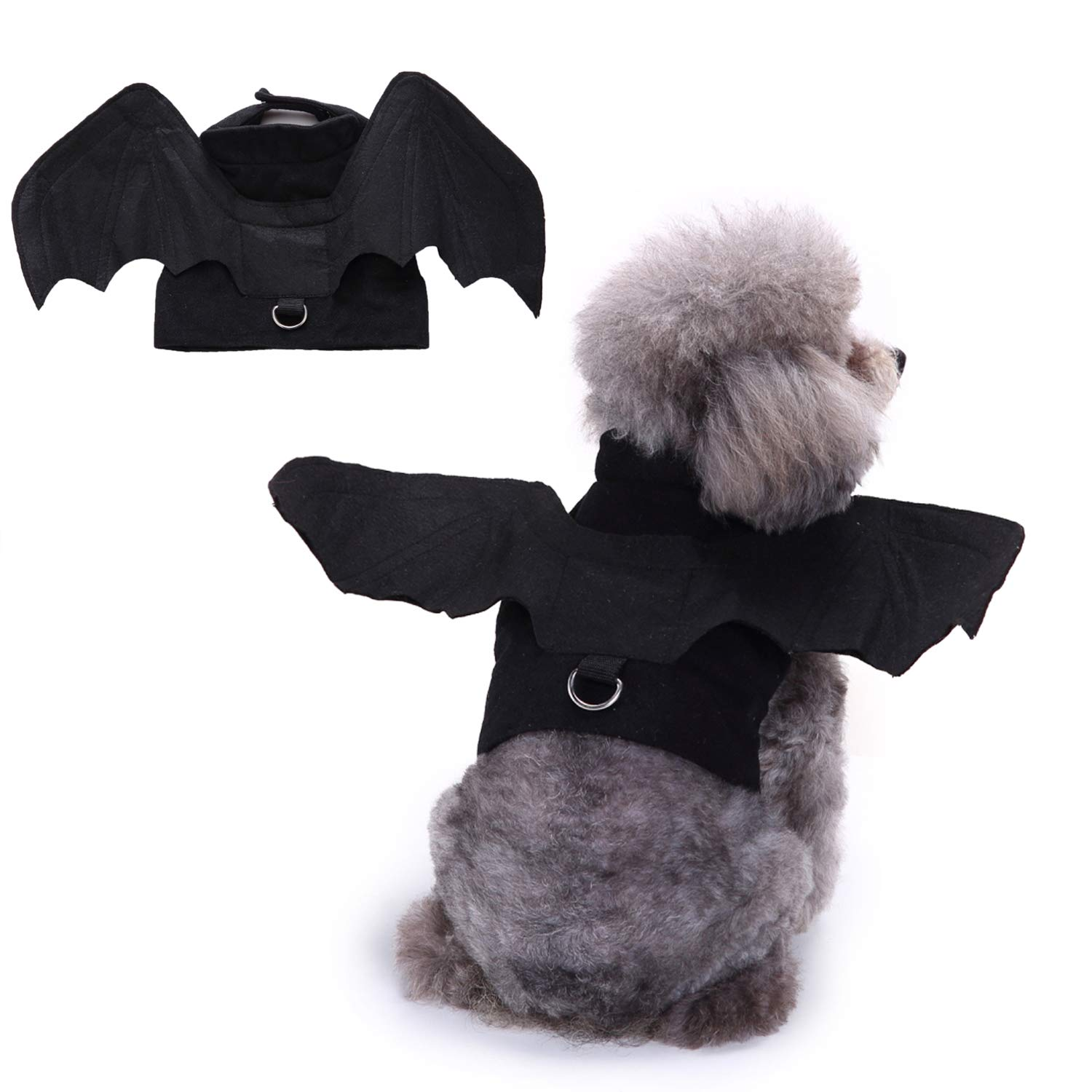 Bwogue Pet Bat Wings Costume for Cat & Dog Pet Apparel Clothes for Halloween Party Small