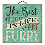 The best things in life are furry 12″ x 12″ Wood Sign Review