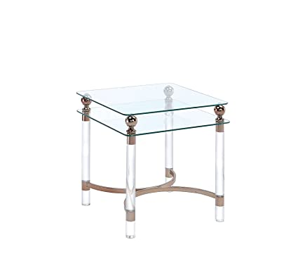 Amazoncom Cosburn Chrome Glass End Table Kitchen Dining