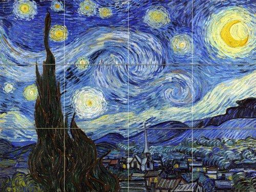FlekmanArt Starry Night by Van Gogh Vincent - Art Ceramic Tile Mural 24