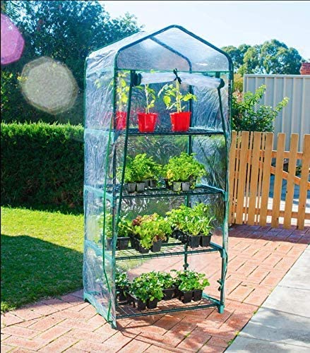 Beeant Portable Greenhouse Mini Hot House with PE and Non-Woven Cover, Waterproof Cloche Greenhouse and UV Protected Greenhouse Tent, 98 98 50cm.