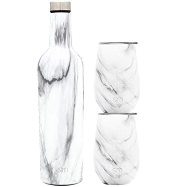 Simple Modern Spirit Wine Bundle - 2 12oz Wine Tumbler Glasses with Lids & 1 Wine Bottle - Vacuum Insulated 18/8 Stainless Steel Pattern: Carrara Marble