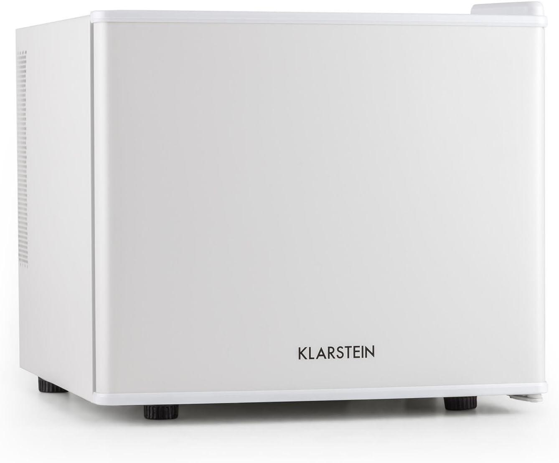 Klarstein Geheimversteck - Minibar, Mini nevera, Nevera para bebidas, Clase A+, 17 Litros, 38,5 x 33,5 x 41,5 cm, Silenciosa, Regulador de temperatura continuo, Ahorro de espacio, Blanco