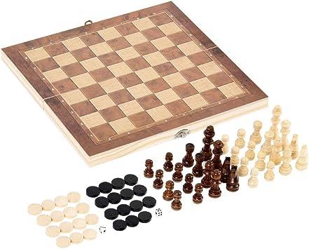 SurfMall 3 en 1 Set-ajedrez de Madera, Damas, Juego de Ajedrez Doble Occidental con Portátiles Plegables de Almacenamiento de Viaje de Ajedrez del Tablero de Juego: Amazon.es: Juguetes y juegos