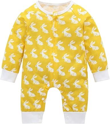 FELZ Mameluco Bebe niño Amarillo Mono de Manga Larga Conejo bebé ...