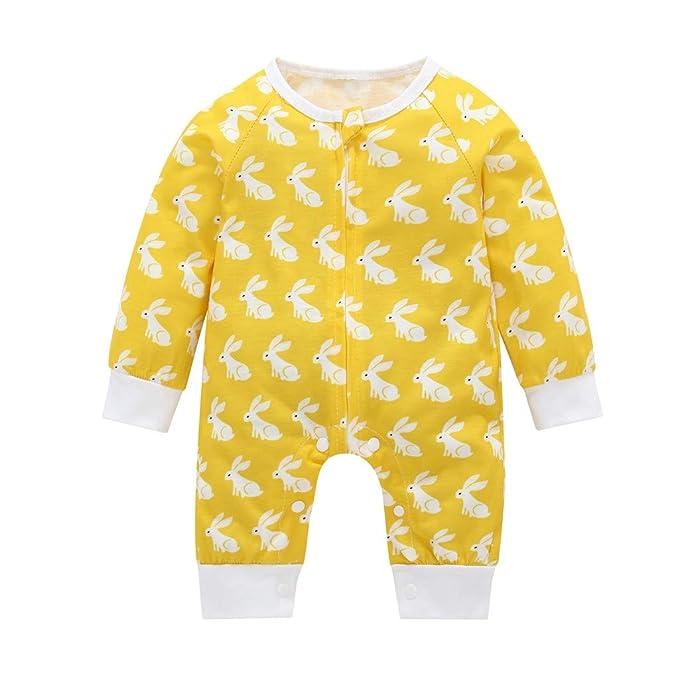 FELZ Mameluco Bebe niño Amarillo Mono de Manga Larga Conejo ...