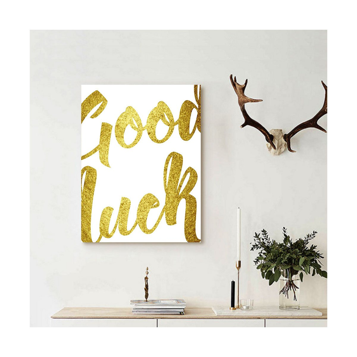 Liguo88 Custom canvas Going Away Party Decorations Good Luck Wish Note Hand Written Lettering Greeting Card Concept Wall Hanging for Gold