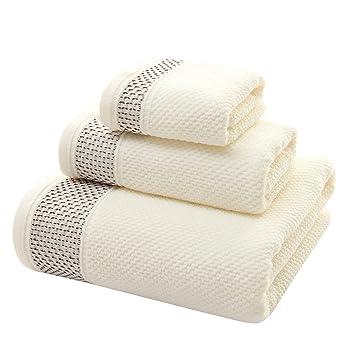 Zhaoke - Juego de 3 toallas de baño de algodón para casa o hotel, algodón, beige, talla única: Amazon.es: Hogar