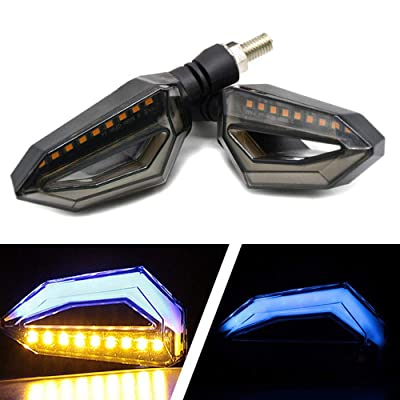 Usee LED Motorcycle Turn Signal Light Amber Daytime Running Light Indicators Blinkers Blue Universal DC 12V 2Pcs: Automotive