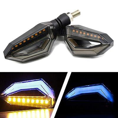 Usee LED Motorcycle Turn Signal Light Amber Daytime Running Light Indicators Blinkers Blue Universal DC 12V 2Pcs: Automotive