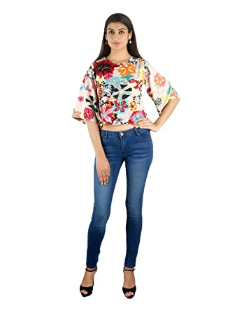 2d8fd7c81d4066 STakriti1 AKRITI 1 Multi Print Butterfly American Crepe Crop Top for Women  (Half Sleeves)