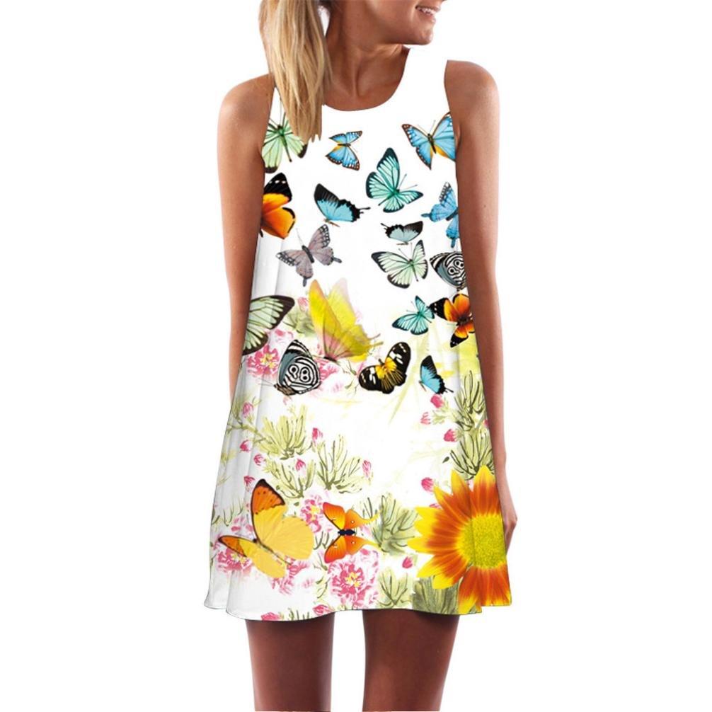 Cooljun Damen Ärmellos Sommerkleid Minikleid Strandkleid Partykleid Rundhals Rock Mädchen Blumen Drucken Kleider Frauen Mode Kleid Kurz Hemdkleid Blusekleid Kleidung (L, E)