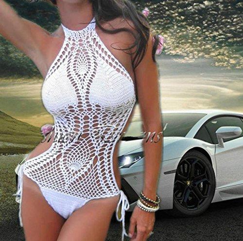XLHGG Bikini halter de las mujeres, bikinis geométricos de poliéster hechos a mano conjuntos White
