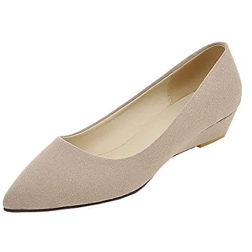 468d4ad62c1 Amazon.com | Artfaerie Womens Pointed Toe Wedge Low Heels Ballet ...