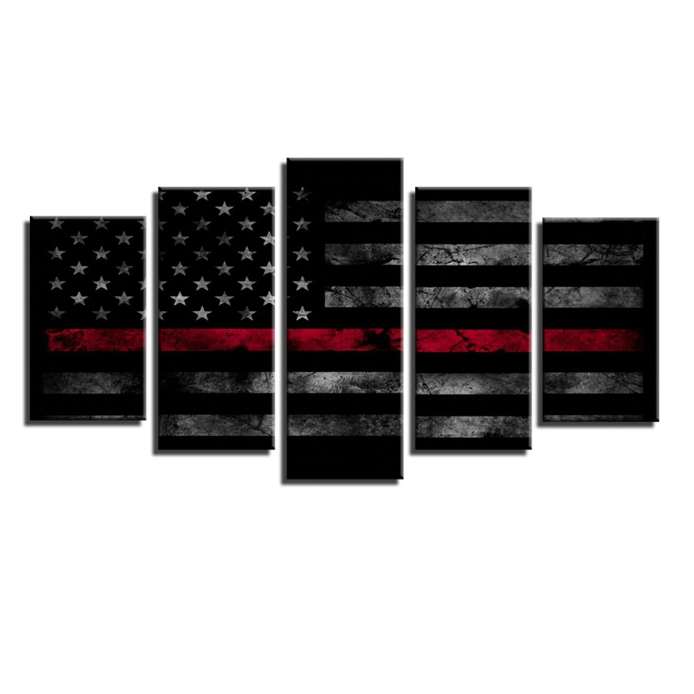 5 Pieces American Flag Stretched and Framed Modern Canvas Wall Art Set Ready to Hang for Living Room Bedroom Home Decor, Blue, Framed, Size 1 Garth
