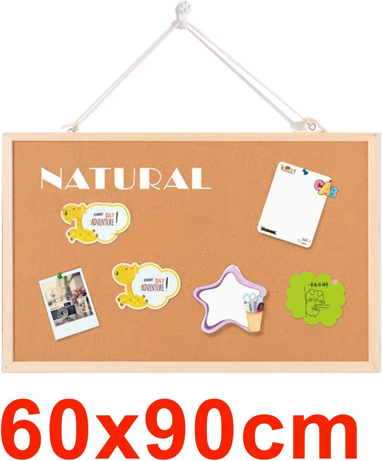 Notice Board Bulletin Soild Wooden Frame Strong Construction-10mm Thick 900mm x 600mm Cork Board Pin Message Notice Display Home Office Kitchen Garage