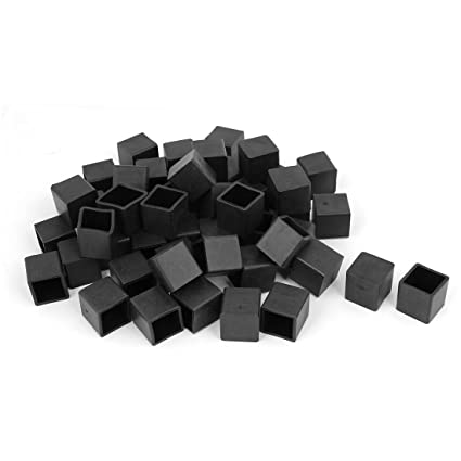 Sellify 20mm x 20mm Rubber Square Shaped Furniture Foot Cover Protector Pad Black 50pcs