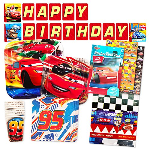 Disney Cars Party Supplies Ultimate Set -- Plates, Dessert Plates, Cups, Napkins, Table Cover and (Disney Cars Party Table)