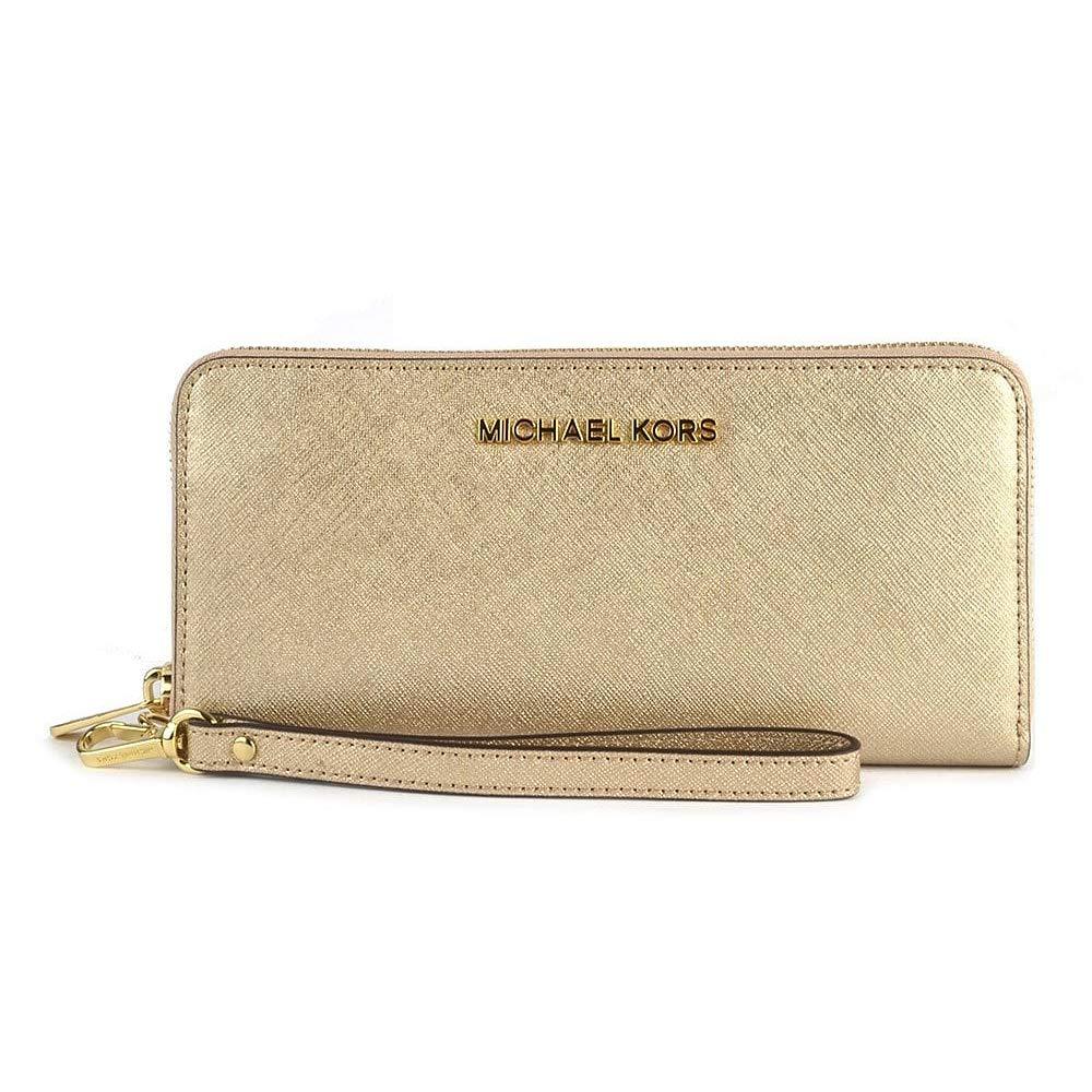 Michael Kors Women's Jet Set Travel Continental Saffiano Wristlet Leather Wallet Baguette, Gold, Pale Gold, One Size by Michael Kors