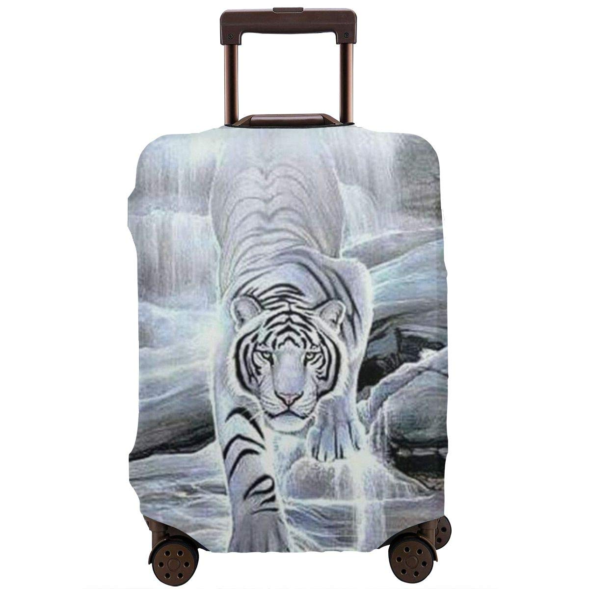 Bvylxz White Tiger Travel Suitcase Cover Protector Luggage Protective Cover Washable Printed Zipper Baggage Suitcase Cover by Bvylxz