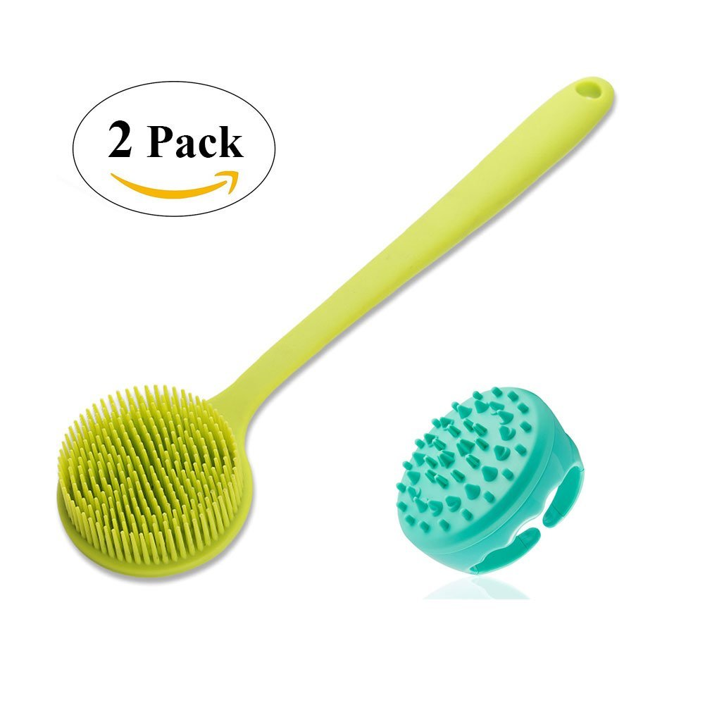 Soft Silicone Shower Brush Bath Brush Body Brush with Long Handle for Sensitive and All Kind Skins, Body Scrubber Silicone Cellulite Massager Shower Back Brush for Women and Men- 2 Pack